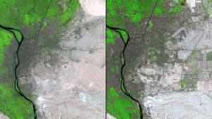 La comparaison de la capitale du Caire de l'Egypte au fil du temps. Entre 1987 (à gauche) et 2014 a augmenté la population de 6 millions à 15 millions. Pour les maisons neuves droite peut être vu, la limite de la ville est prolongée.